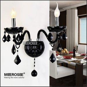 Heiße verkaufende Weinlese-Kristallwand Leuchte Moderne Glaswandhalter BH Lampe Schwarz Kristall Wandleuchten Indoor Outdoor Lighting