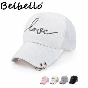 Boné de beisebol Belbello Moda Perfurado Anel Net Cap Verão Ladys Ferro Anel de prata de seda pano protetor solar IY93 #