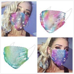 Bling Sequins Rhinestone Koruyucu PM2.5 toz geçirmez Ağız Kapak Yıkanabilir Yüz Maskesi Moda Bar dance kulak askısı Nightclub Maskeler Maske Bling