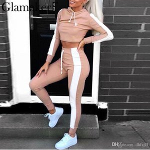 2020 Women two-piece suit crop hoodies party jumpsuit Holiday sleeve overalls2020
