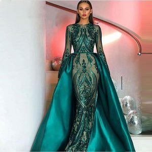 2020 New verde escuro manga comprida Lace magro sereia lantejoulas vestido de noite