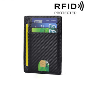 Fashion new ID bank card wallet carbon fiber ultra thin genuine leather business card holder RFID protection