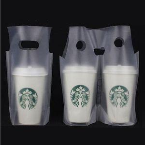 1000шт / Lot Clear Plastic Beverage Carrier Вынимают сумка Два дизайна питьевой Кубок Cola Фасовка мешок ручки для одной чашки пакета обновления Сумки
