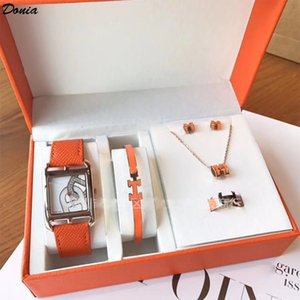 Donia jewelry Aijia 6mm color enamel plated exaggerated letter Titanium Steel Bracelet Watch Necklace Ring Earrings five piece set