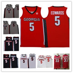 Mens NCAA # 5 Anthony Edwards Georgia Bulldogs Basketball Jersey costurado preto branco vermelho # 33 Nicolas Claxton Georgia Jersey S-3XL
