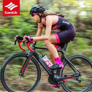 L7C03011 Santic Women Triathlon Cycling Jersey Quick Dry Cycling Skinsuit Bike Jersey Womans Padded Cyling Short Pant