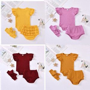 Baby Girls Clothes Kids Summer Fly Sleeve Rompers Bloomers Headband Clothing Sets Cotton Solid Jumpsuits Panties Briefs Hairband Suit BC7593