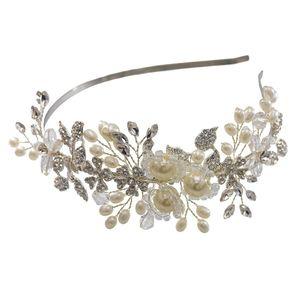Simulated Pearl Silver Bridal Headband-Single Hair Band Tiara Flower Wedding Headpiece Jewelry Bridal Hair Accessoires for Women