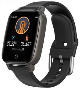 Perakende Paketi ile termometre SmartWatch bilgi itme spor izci kalp hızı izleme T1 akıllı saat Bileklik Vücut ısısı
