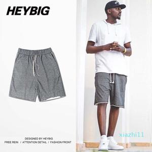 Fashion-Wholesale-European Fashion men Shorts Unedged Knit Sweatpants HEYBIG Knee-length Drawstring Hiphop clothing China Sizing M-3XL