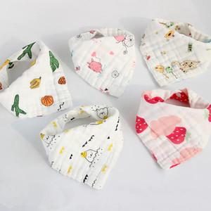 Muselina baberos para bebés 8 capas de gasa de algodón recién nacido de la bufanda del triángulo Burp Cloth Bebe Smock pañuelo Accesorios de Navidad de dibujos animados 18 diseños DW5613
