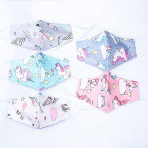 Kawaii Einhorn-Eiscreme-Cartoon Cotton Designer-Gesichtsmasken Bequeme Ohr-Schleife Anime Mundmaske Antistaub waschbare Gesichtsabdeckung FY0053