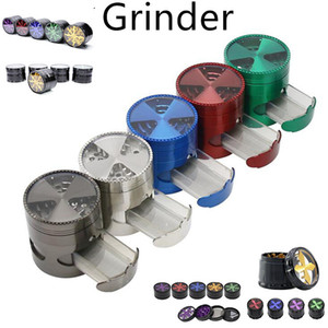 Tobacco Smoking Herb Grinders Four Layers Metal Grinder 100% Metal dia 63 52mm have Multiple types With Clear Top Window Lighting Grinder