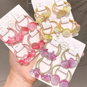 Children's rope transparent jelly color love five-pointed star ring girls hair rubber band head rope baby hair accessories