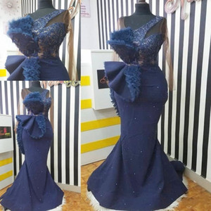 Aso Ebi Arabic Navy Blue Evening Dresses Cheap Lace Beaded Mermaid Prom Dress Sexy Formal Second Reception Party Gowns