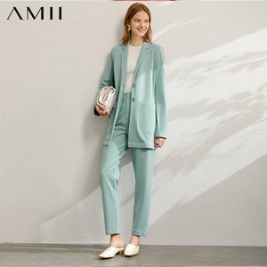 Amii Minimalist Spring Office Lady Two Pieces Set Women Fashion Lapel Solid Blazer High Waist Pants Female T200713