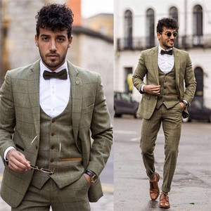 3-piece Handsome Green Plaid Wool Blend Mens Suit New Fashion Groom Suit Formal Wedding Suits For Best Men Slim Fit Groom Tuxedos For Man