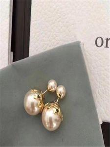 European and American fashion custom pearl earrings imported brass inset pearl earrings