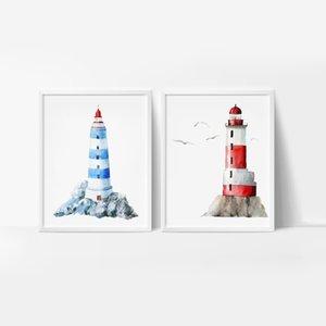 Farol da aguarela E Poster, desenhados mão dos desenhos animados Lighthouse Wall Art Canvas Pintura Pictures Crianças Quarto Wall Decor
