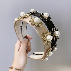 Vintage Style Women Pearl Headband Baroque Style Girls Floral Hairband INS Fashion Candy Color Hair Band