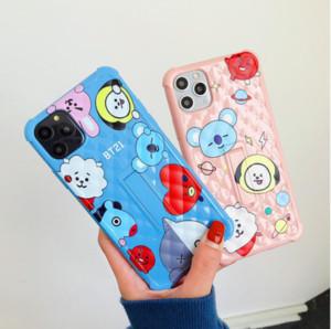 Novo design de luxo dos desenhos animados BT21 telefone iPhone para o caso do 11 Pro XS MAX 7 X XR 6 8plus Koala Coelho animal macio tampa traseira Silicone Fundas