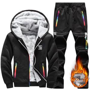 Brand New Mens Set Autumn Winter Couple outfit Tracksuit Sportswear 2Piece Set Suit Jacket+Pant Sweatsuit Men Clothing Plus velvet