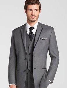 Custom Made Grey Men Slim Fit Suits Three Pieces Business Party Tuxedo Groom Wedding Suits Design Fashion Male Suits