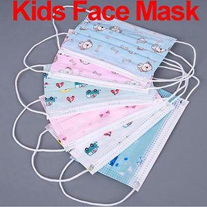 Niños desechables de cartón Máscara Niños Niñas no tejida de la boca de la máscara anti polvo respirable Niño Máscaras lindo impresión de la cara IIA333