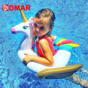 Swimming Rings DMAR Inflatable Unicorn Baby Float Pool Toys for Kids Swimming Ring Pool Party Inflatable Mattress Beach Sea Unicorn Donut