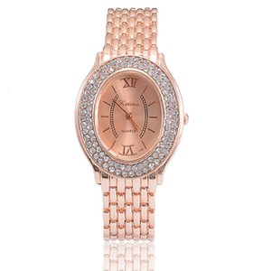 Wholesale New Womens Business Alloy Steel Watch Fashion Oval Rose Gold Diamond Quartz Bracelet Watch