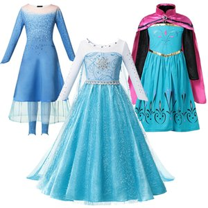 Girls Blue Dresses Kids Princess Coronation Clothing Baby Girl Cartoon Role Playing Game Costumes Carnival Performance Sets