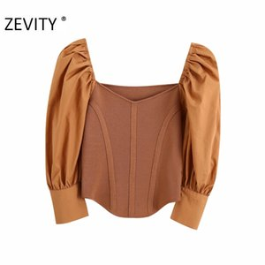 ZEVITY Frauen elegant Popeline Hauchhülse Patchwork Gestrickte beiläufige dünne Kittel Bluse Damen chic V-Ausschnitt feminina Shirt Spitzen LS7055