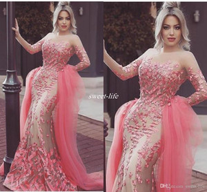 African Mermaid Prom Dresses 2021 Sheer Neck Long Sleeves 3D-Floral Applique Detachable Train Evening Pageant Gowns Tulle Formal Party Dress