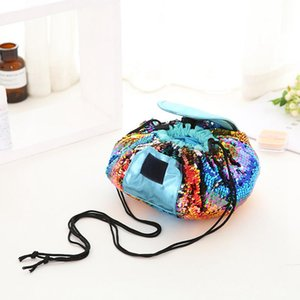 4styles Sequins Cosmetic Bags Mermaid Sequined Makeup Bag Drawstring Travel Cosmetics Bag Women PU Leather Clutch Storage Bags GGA3199-3