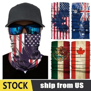 Bandeira Multifunctional Bandana mágica na moda EUA FLAG Imprimir Moda Máscara equitação face Causal Homens Turban Mulheres Outdoor Scarf DWE300
