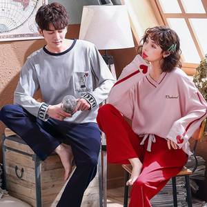 3EKB9 Qiao Yingsha cotton couple pajamas wo long-sleeved and pajamas trousers trousers season thin men's and women's cotton home clothes set