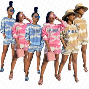 Color Tie-dyed Women Brand Letters Tracksuit Long Sleeve Pullover Hoodies Tops Shorts Sets Summer Sportwear 2 Piece Outfit Sweat Suit D7707