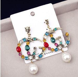 Berühmte Designer Ohrringe mit Kristallperlen Big Lange Ohrringe Schmuck für Frauen Rot Grün Weiß Gelb Bunte Stein für Partei