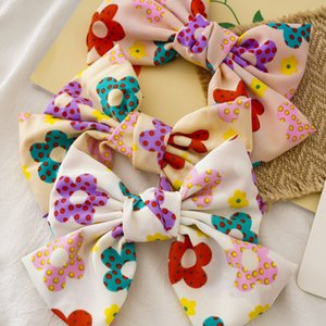 Girls Flower Party Hair Accessory Korea New Kids Floral Fabric Bow Hair Clip Women Lolita Knot Lady Children Bowknot Hair Pin S321