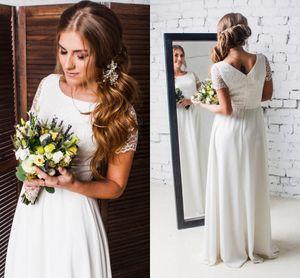 Elegant Chiffon A Line Wedding Dresses 2021 Boho Beach Short Sleeve Jewel Neck Lace Bridal Gowns Sweep Train Simple robes de mariée