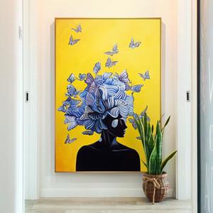 Résumé Fille avec la peinture papillon toile nordique Affiches jaune et bleu Imprimer Cuadros Wall Art Image pour le salon de décoration intérieure