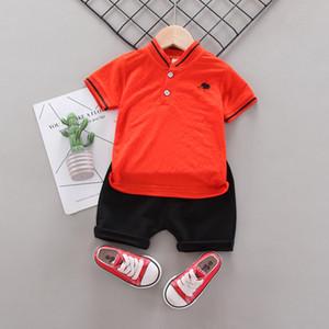 Boys Gentleman Sets Clothing Summer Kids Cartoon Short Sleeve T-shirt + Shorts Suit Tracksuits 2 pcs Simple Casual wear b030