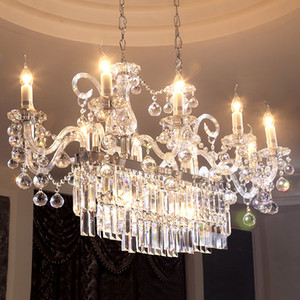 Rectangular candle crystal chandelier living room bedroom dining room light modern minimalist hotel club house KTV chandelier