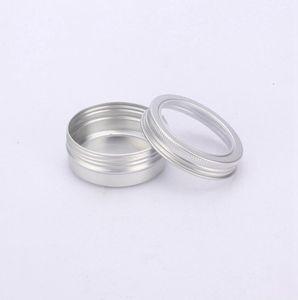 60ml Crème Tin Container Aluminium Métal Pot Pot avec fenêtre visible Petite boîte à vis Couvercle vide cosmétiques Boîtes de stockage portable LJJP122