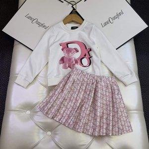 clothe girl set autumn white long sleeve + dress 110-160 cm baby girl pink fashion cheap fall clothing sets designer girl boutique clothe