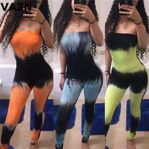 wholesale Top design 2020 summer sexy lady 3 colors long jumpsuit strapless print skinny springy jumpsuit lady high street jumpsuits