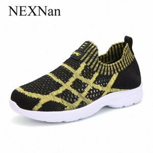 Deslizamento NEXNan sobre as crianças sapatas para miúdos tênis Meninos Calçados casuais Meninas Sneakers malha respirável exterior Calçado executando tlFu #