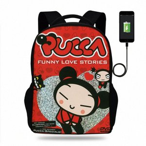 Cartoon Pucca Funny Love Mädchen Schulranzen Rucksäcke Schulranzen Schulranzen für Kinder Orthopädische Mochila Escolar USB-Lade Buch-Tasche 8Mbw #