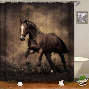 승마 말은 후크와 욕실 용 일몰 높은 품질 방수 커튼을 향해 카우보이의 서양 샤워 커튼 예술을 duschdraperi