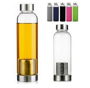 22oz Glass Water Bottle BPA Free High Temperature Resistant Glass Sport Water Bottle With Tea Filter Infuser Bottle Nylon Sleeve 420ml